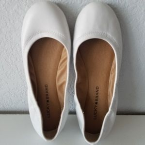 Lucky Brand white leather ballet flats 8M